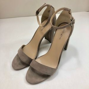 Taupe Open Toe Block Heels